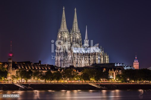 Cologne Cathedral seen at night from the other side of the Rhine