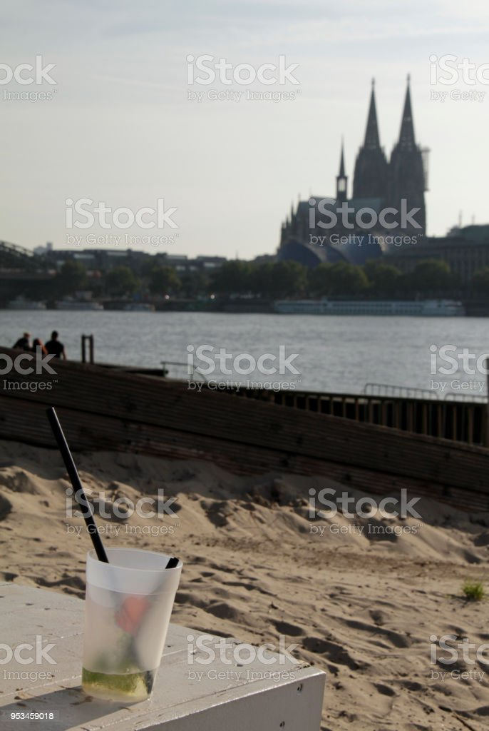 Cologne Cathedral seen from a beach club stock photo