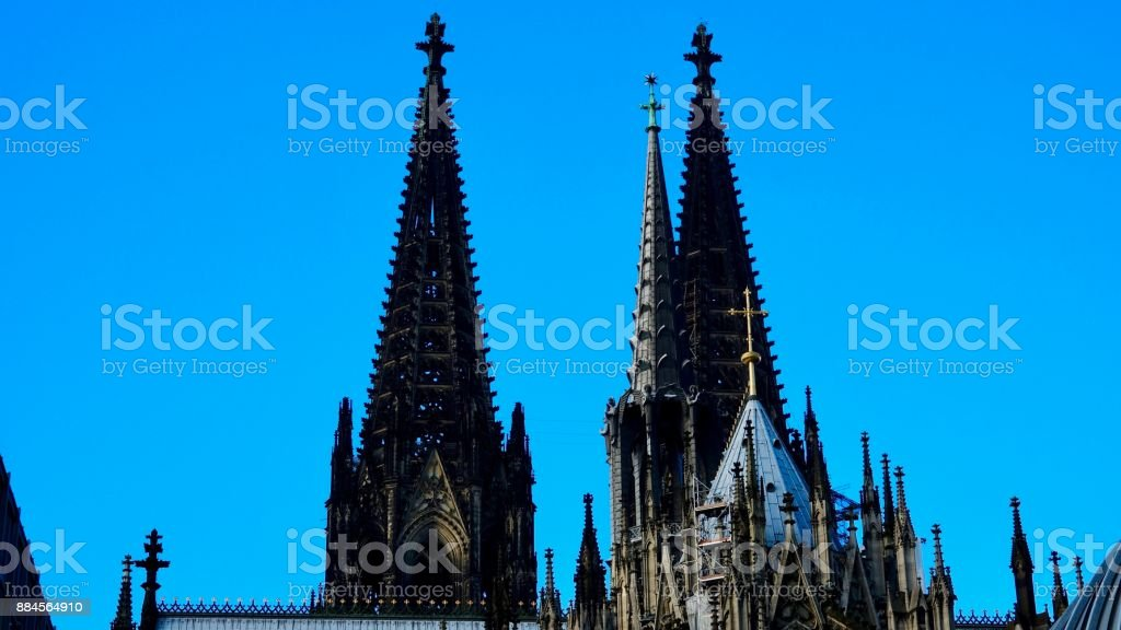 Cologne Cathedral, side view on towers stock photo