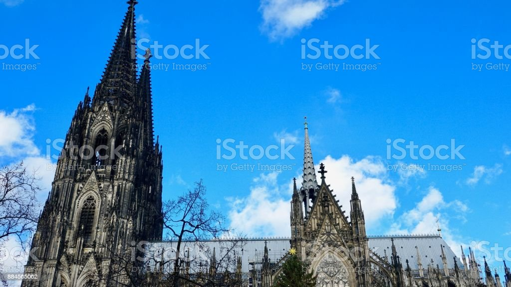 Cologne Cathedral, side view with towers stock photo