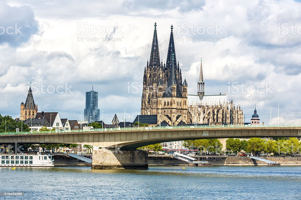 Cologne Cathedral with bridge stock photo