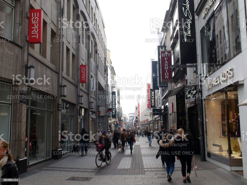 cologne city center shopping district and people scene in germany europe royalty free stock photo