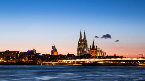 Cologne Downtown District Skyline at Night stock photo