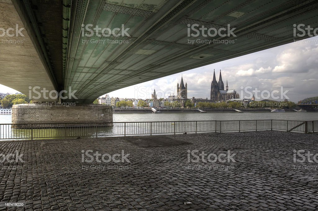 Cologne From Under The Deutzer stock photo