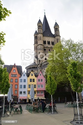 Cologne, Germany - April 26 2018: Cologne Germany Old Town altstadt colourful houses market square travel holiday