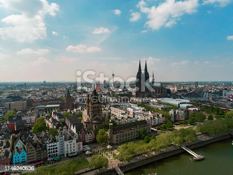 Aerial view on Cologne in Germany