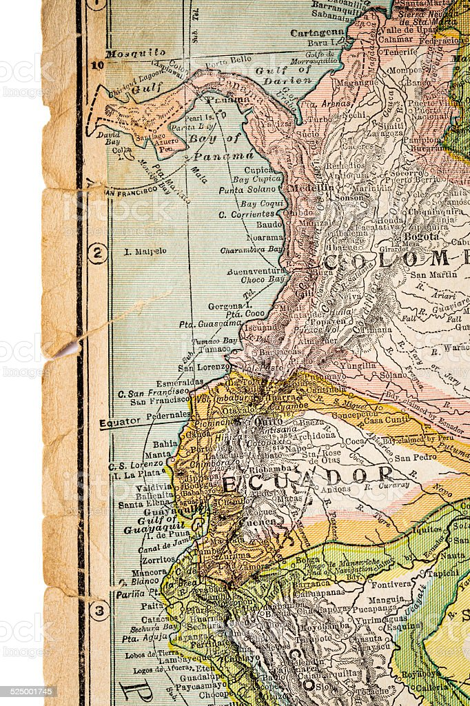 Colombia and Ecuador on vintage map stock photo