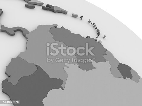 istock Colombia and Venezuela on grey 3D map 544569376
