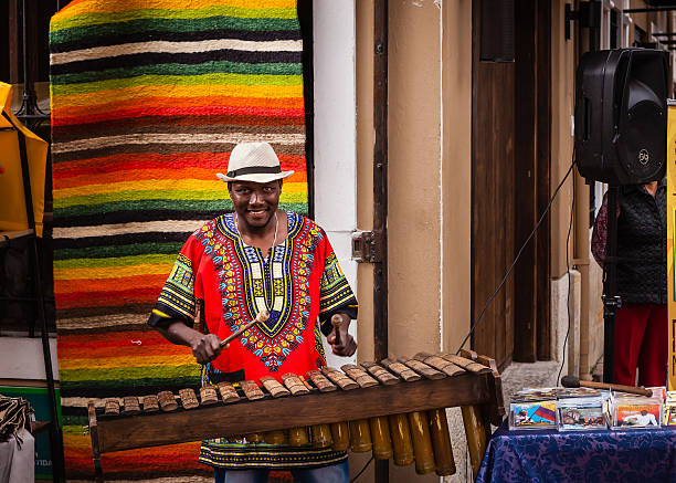 Colombia - Black Marimba player on Plaza Usaquén. stock photo