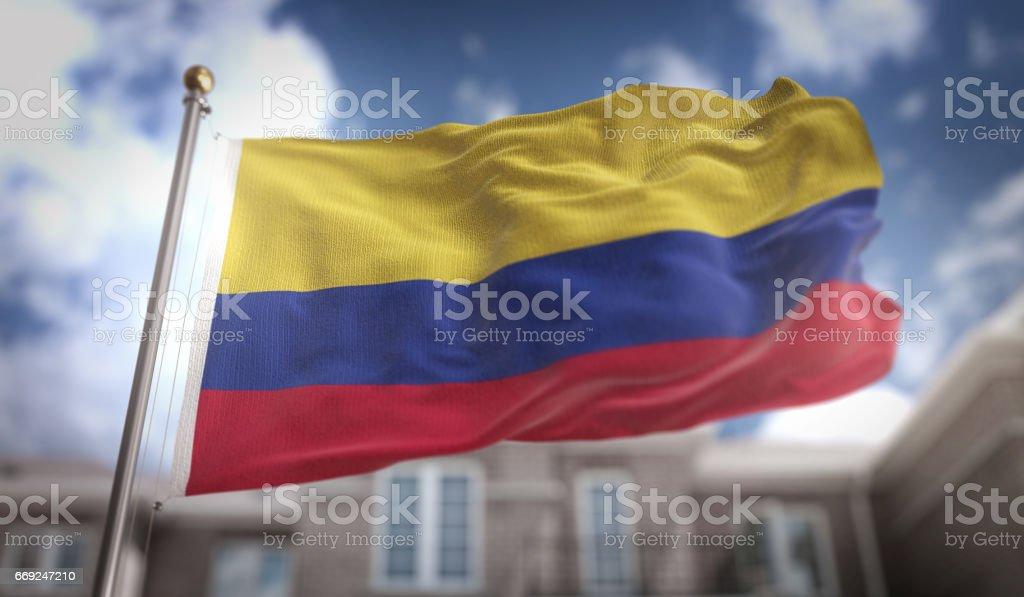 Colombia bandera procesamiento 3D sobre fondo azul Sky Building - foto de stock