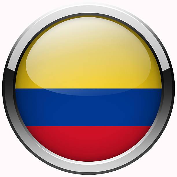 colombia bandera de botón de metal de gel - bandera colombiana fotografías e imágenes de stock