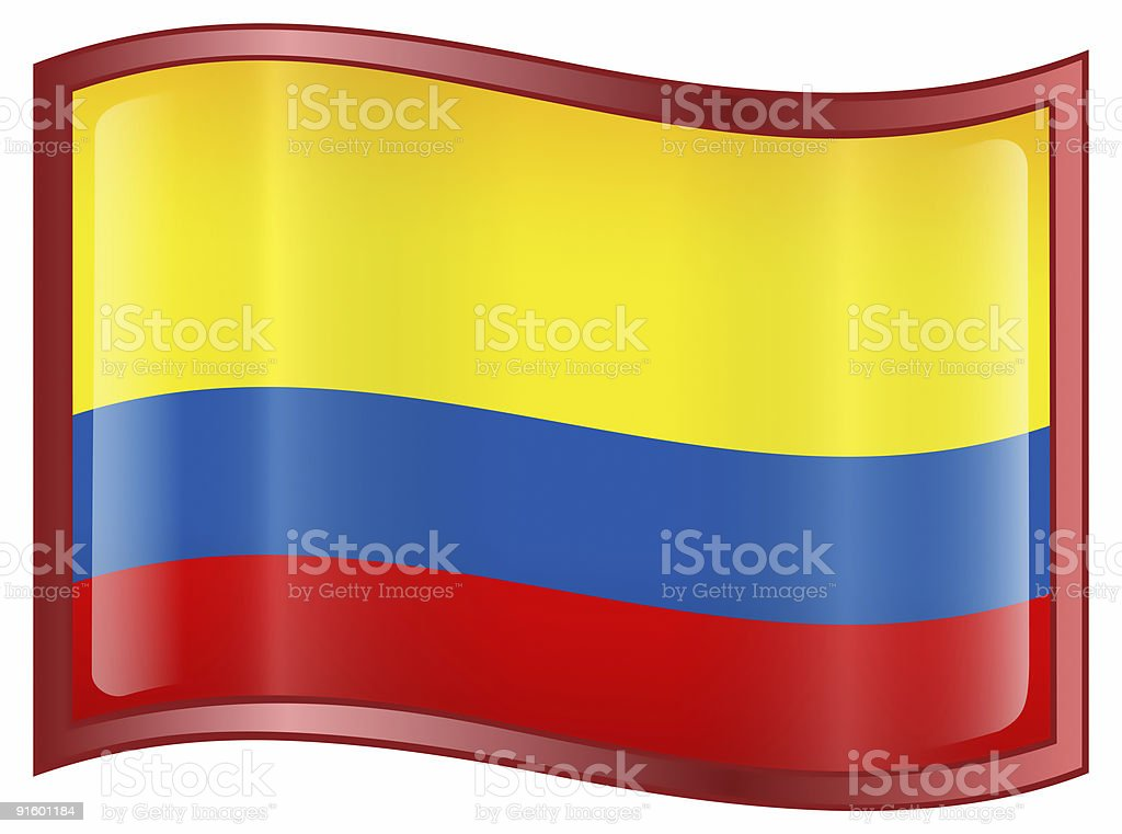 Colombia Flag Icon, isolated on white background. royalty-free stock photo