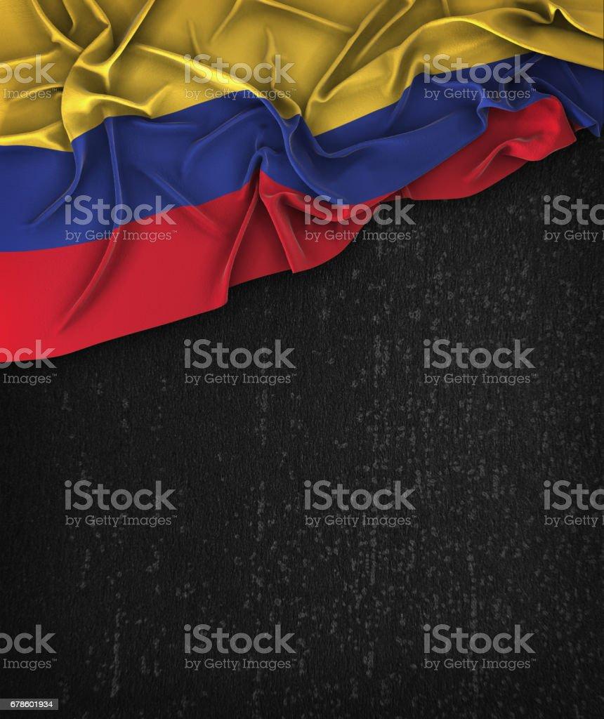 Colombia bandera Vintage en un Grunge negro pizarra con espacio para texto - foto de stock
