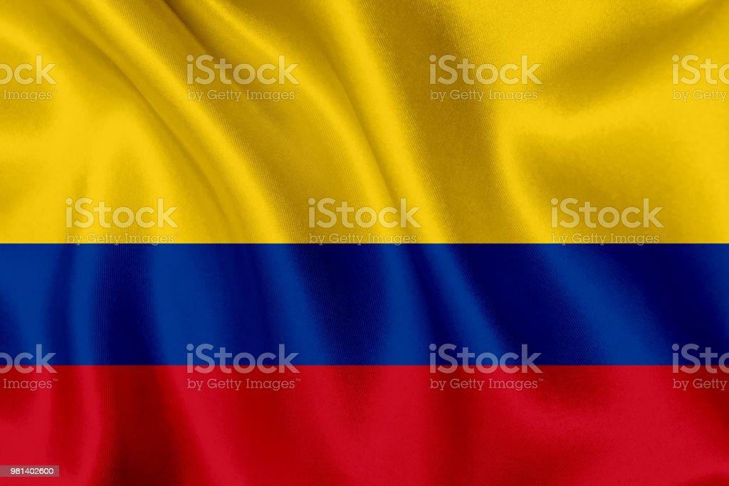 Bandera de Colombia ondeando fondo - foto de stock
