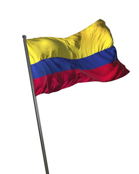 bandera de colombia ondeando aislado en fondo blanco retrato - bandera colombiana fotografías e imágenes de stock