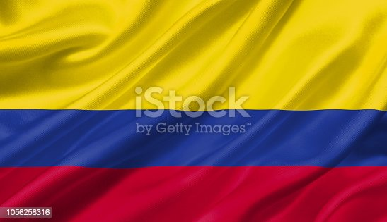 1056280906 istock photo Colombia flag waving with the wind, 3D illustration. 1056258316