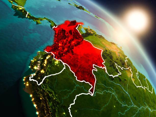 Colombia desde el espacio durante el amanecer - foto de stock