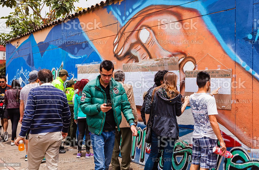 Colombia - Historic Peace Referendum Voters stock photo
