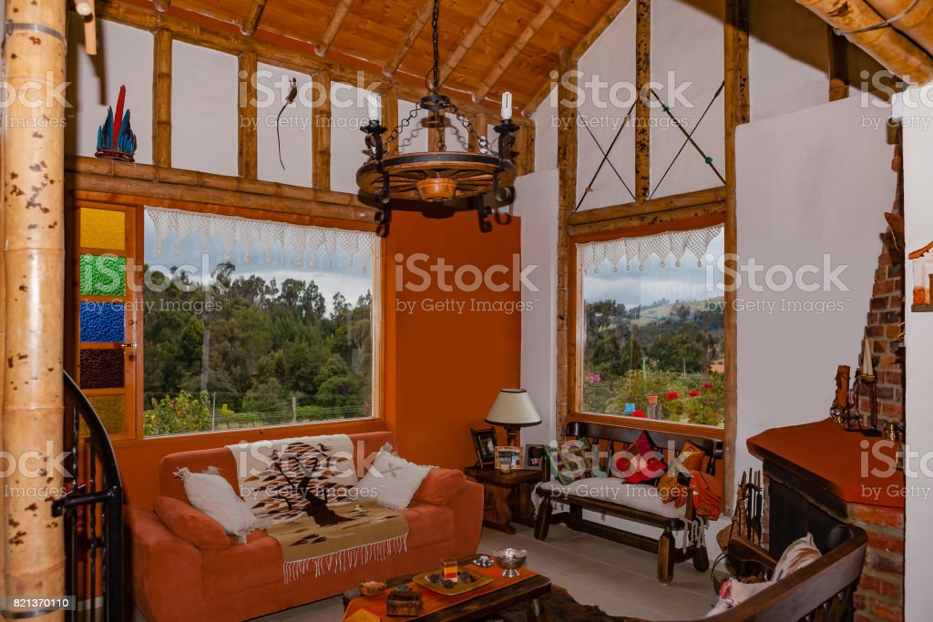 Colombia Interior Of Farmhouse Built With Bamboo Structure