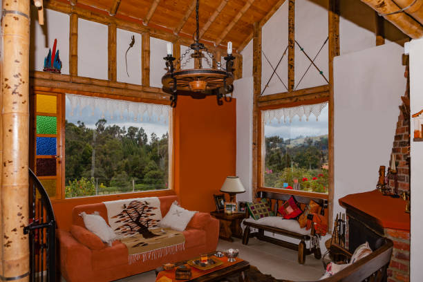 Colombia - Interior of Farm-house Built with Bamboo Structure in Picturesque Subachoque on the Andes Mountains stock photo