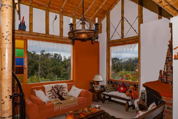 Kolumbien - Innenraum des Farm-Haus mit Bambus-Struktur im malerischen Subachoque auf die Anden – Foto
