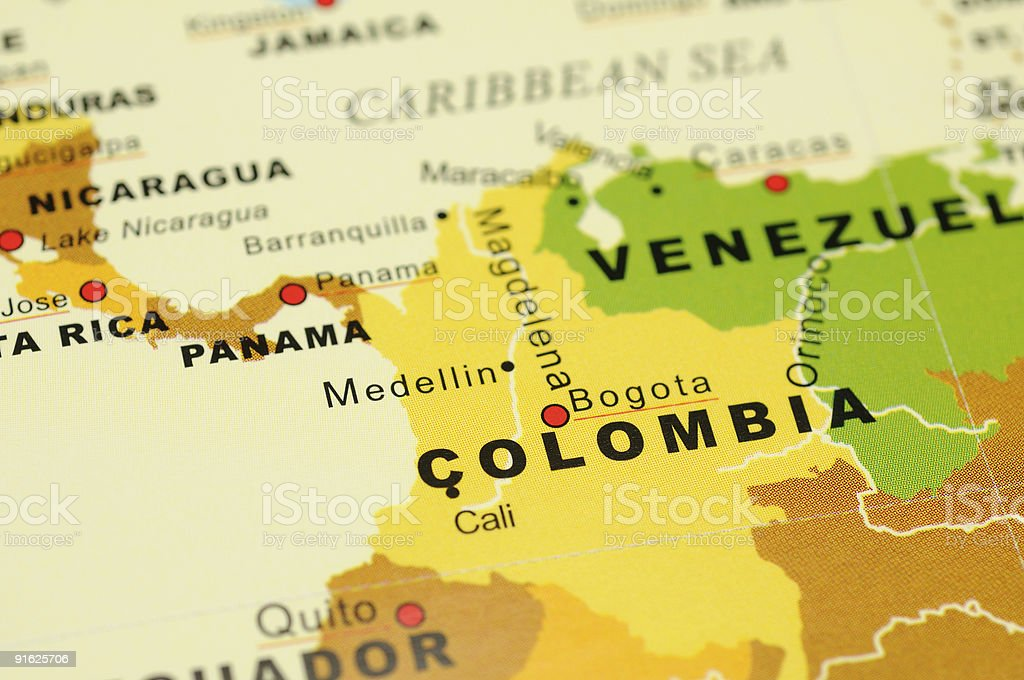 Colombia on map stock photo