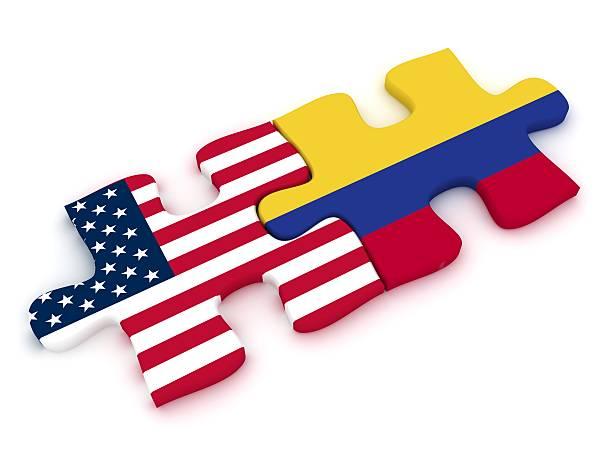 usa colombia puzzle - bandera colombiana fotografías e imágenes de stock