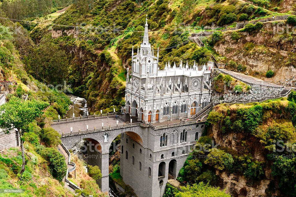 Colombia, Sanctuary of the Virgin of Las Lajas stock photo