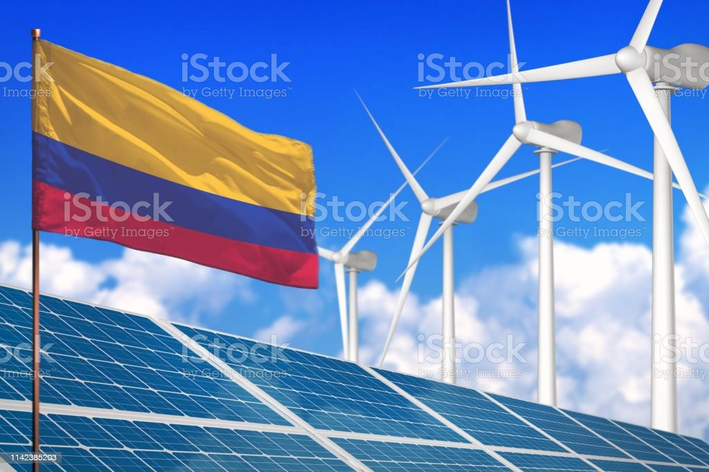 Colombia solar and wind energy, renewable energy concept with...