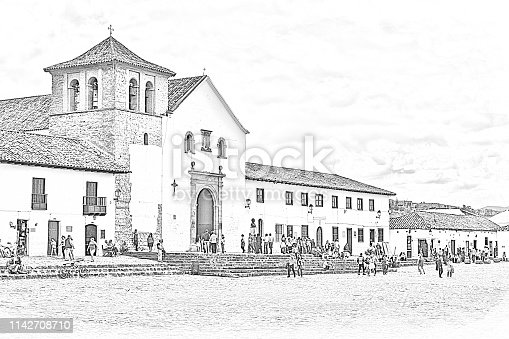 Villa de Leyva, Colombia - November 27, 2017: Pencil drawing effect of the Church on the main square in Villa de Leyva in the Boyacá Department of the Latin American country of Colombia. The pencil finish was created in Photoshop CC 2019. The town, founded in 1572 and located at just over 7000 feet above mean sea level on the Andes Mountains, Villa de Leyva was declared a National Monument in 1954 to protect its colonial architecture and heritage. It is the largest town square in Colombia. The Town was one of the locations for the movie Cobra Verde by Werner Herzog and the Spanish language Soap Opera Zorro. Copy space. Note to Inspector: four steps to demonstrate how the image was created is attached (in Property Release section).