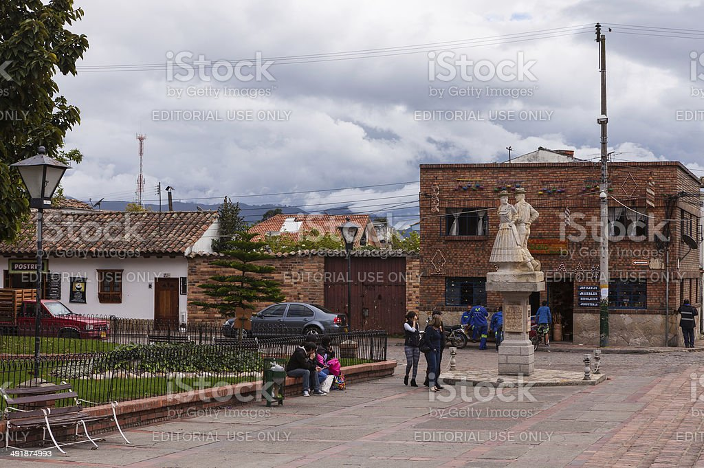 Colombia, South America - Town square in Tabio; colonial architecture royalty-free stock photo