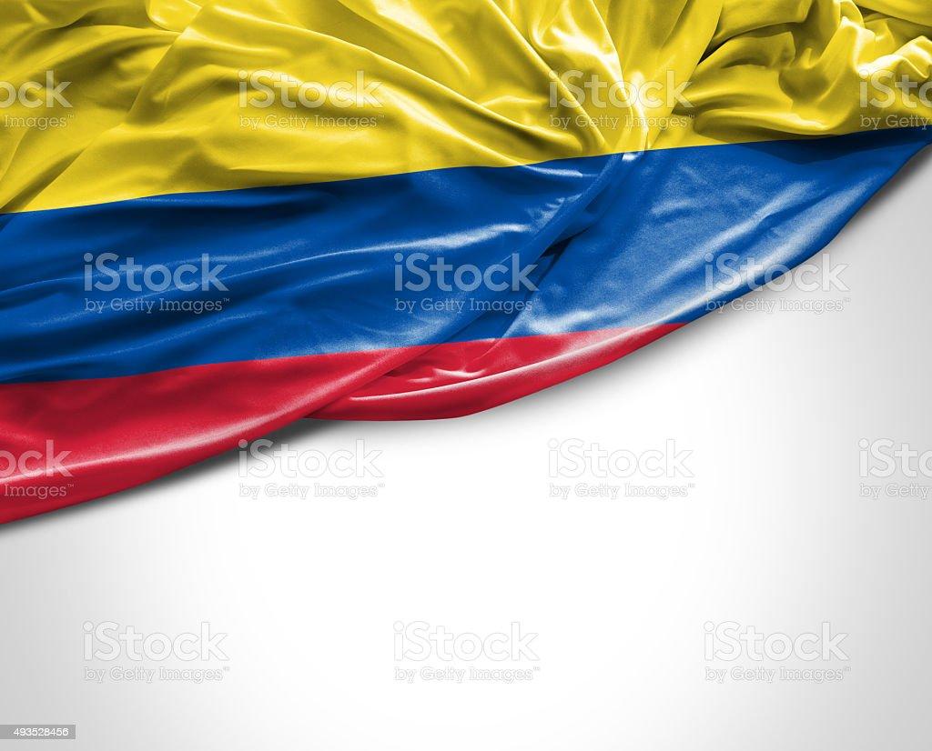 Bandera Colombia saludando con la mano sobre fondo blanco - foto de stock