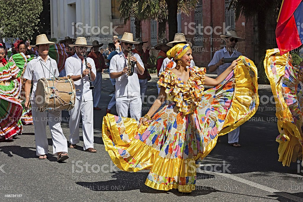 colombian dancers and musicians royalty-free stock photo