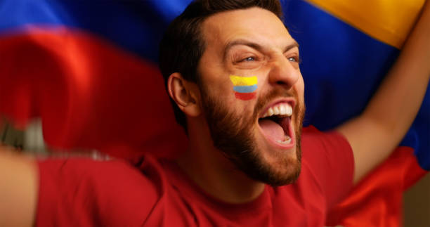 colombian fan celebrating - colombia stock photos and pictures