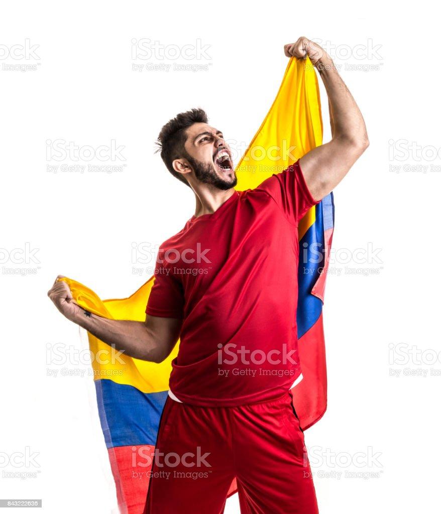Ventilador colombiano celebrar - foto de stock