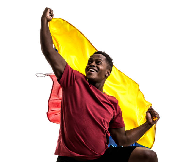 Colombian Fan / Sport Player celebrating on white background stock photo