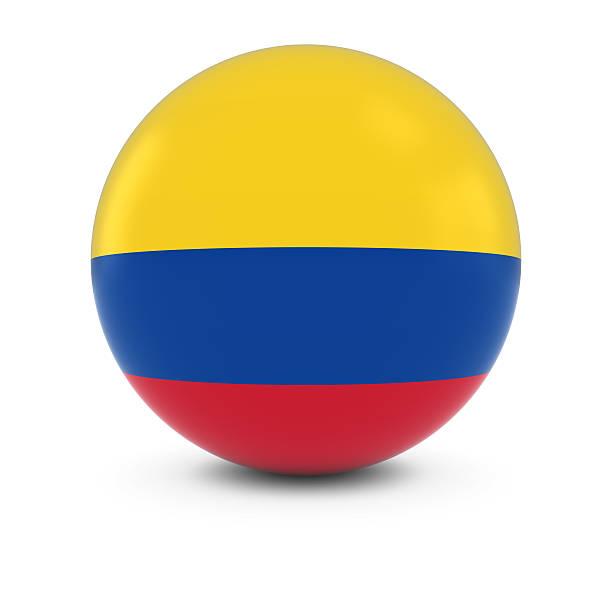 bandera colombiana ball-bandera de colombia en materia de aislados - bandera colombiana fotografías e imágenes de stock