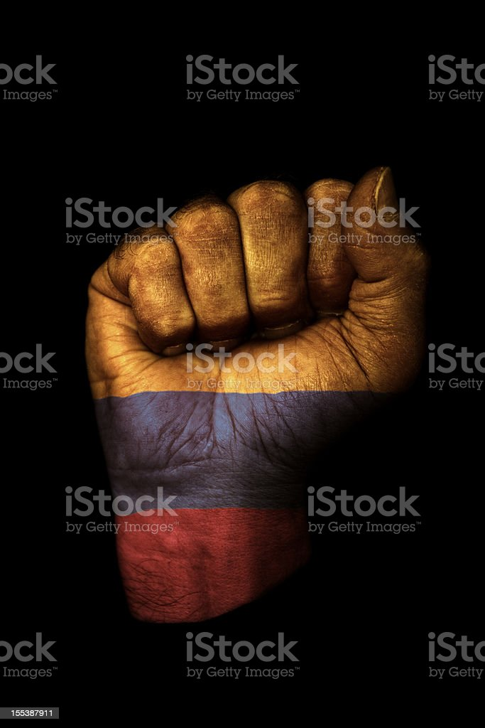 Colombian Flag Fist royalty-free stock photo