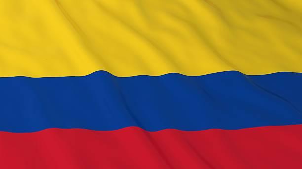 bandera colombiana fondo en hd-ilustración 3d de bandera de colombia - bandera colombiana fotografías e imágenes de stock