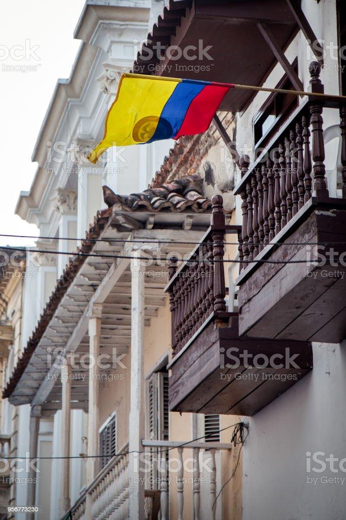 Bandera colombiana en Cartagena de Indias, Colombia - foto de stock