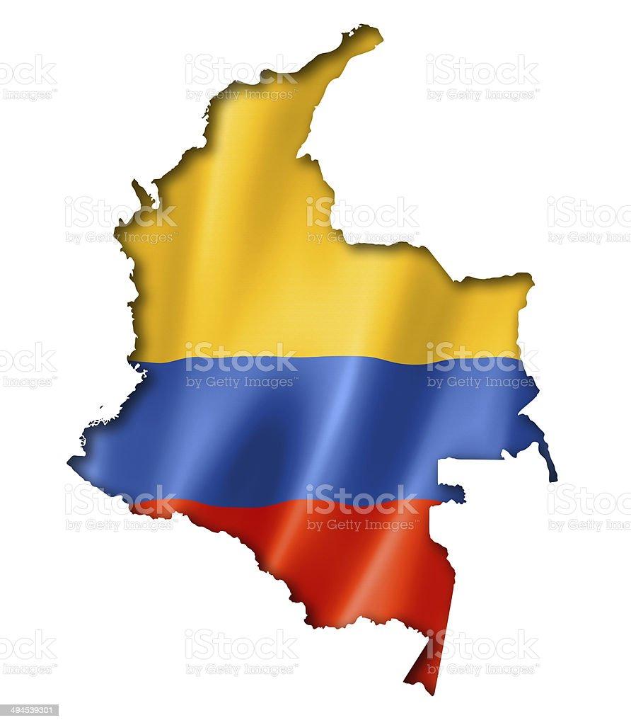 Mapa bandera colombiana - foto de stock