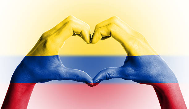 bandera colombiana en forma de corazón humano manos sobre fondo aislado - bandera colombiana fotografías e imágenes de stock