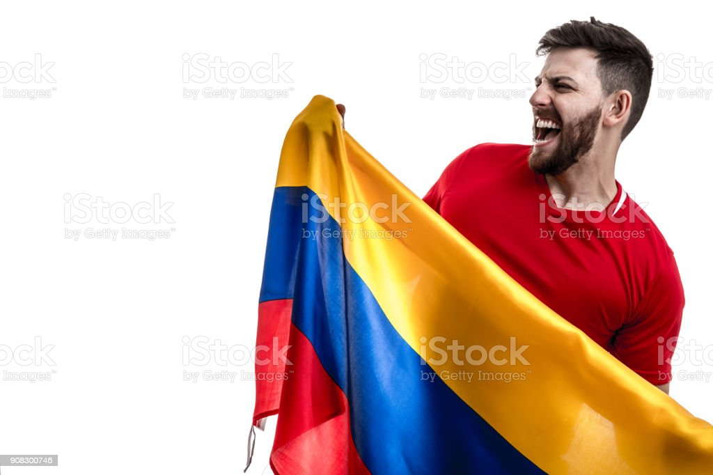 Atleta Masculino colombiano ventilador celebrando sobre fondo blanco - foto de stock