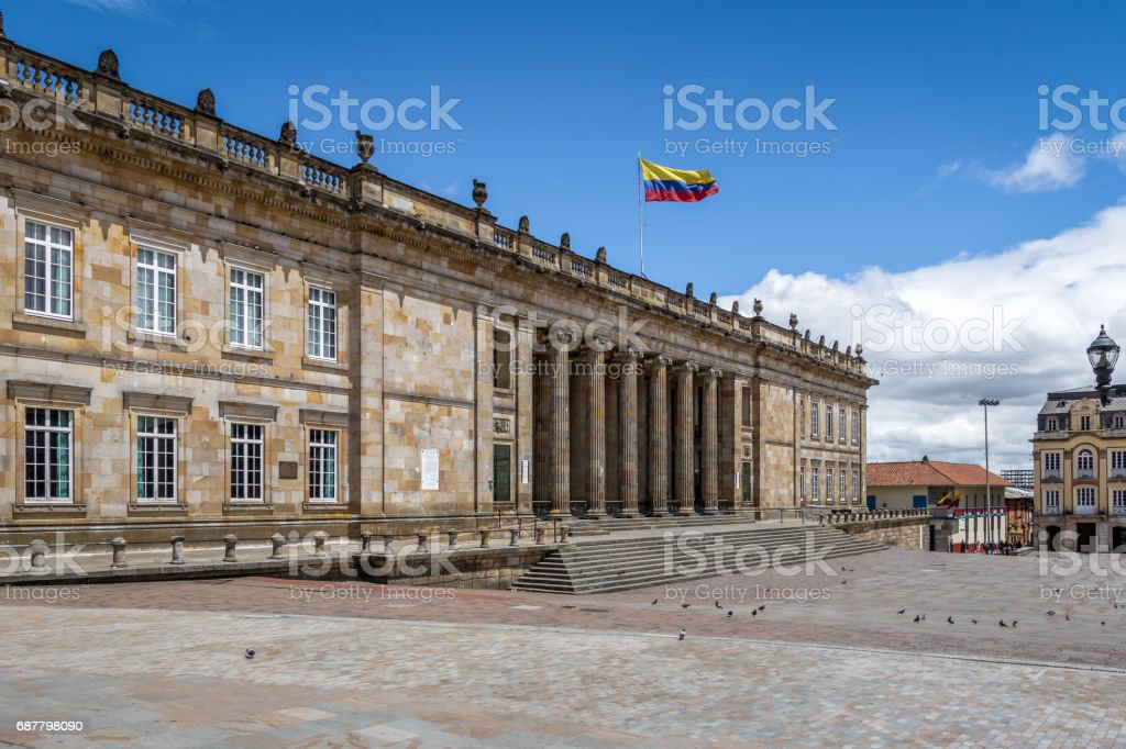 Colombian National Capitol and Congress situated at Bolivar Square - Bogota, Colombia stock photo