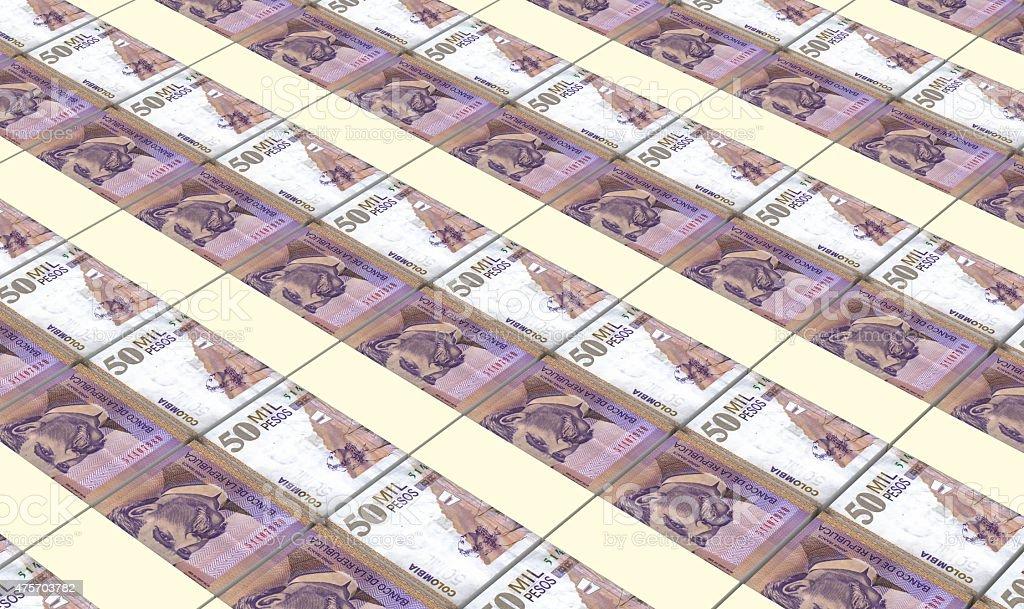Colombian pesos bills stacks background. stock photo