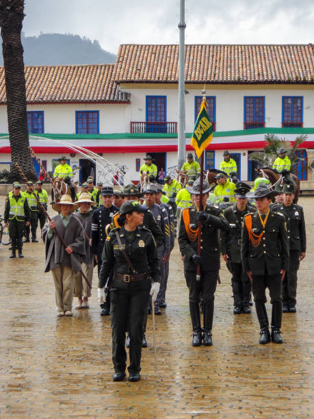 Colombian police ceremony at Zipaquira town hall at main square, Zipaquira, Colombia stock photo