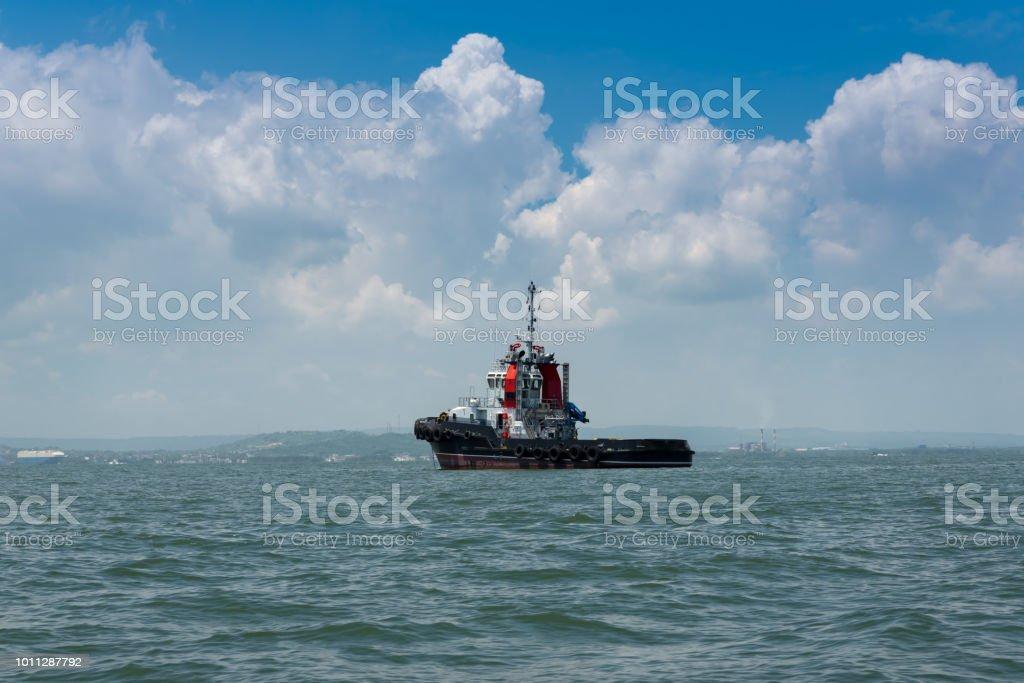 Colombian port tugboat stock photo
