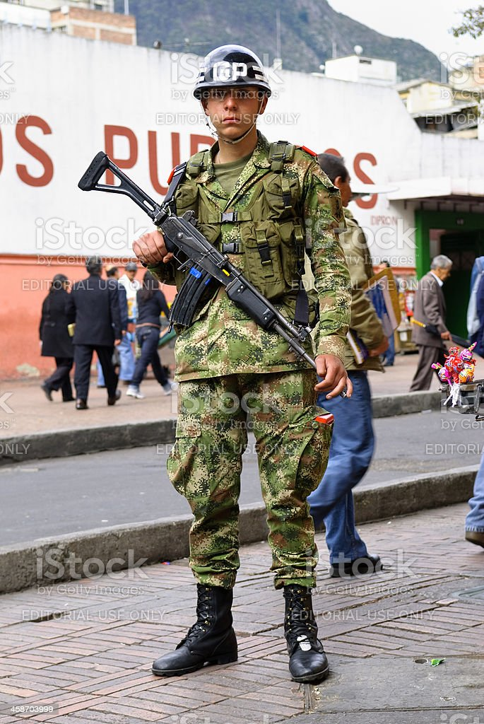 Colombian soldier in Bogota royalty-free stock photo