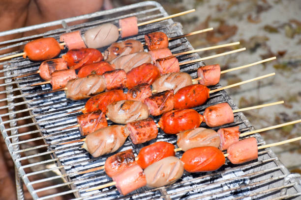Colombian Style Grilled Skewers stock photo