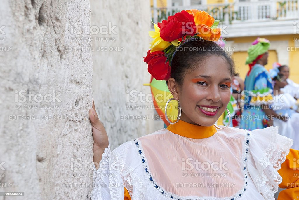 Colombian teenage girl in festive dress in Cartagena, Colombia royalty-free stock photo